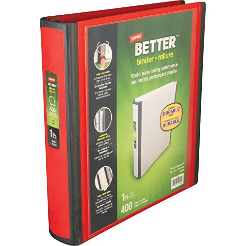 Staples Better 1.5-Inch D 3-Ring View Binder, Yellow 19060